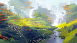 Landscape Nature River Tree Village Waterfall 2560x1080 Wallpaper