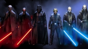 Star Wars Jedi Sith Laser Swords Mask Emperor Palpatine Luke Skywalker Darth Vader Yoda Collage Star 4000x1200 Wallpaper