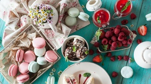 Berry Ice Cream Macaron Raspberry Still Life Sweets 2048x1365 Wallpaper