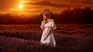 Field Flower Girl Lavender Model Redhead Sunset White Dress Woman 2048x1333 Wallpaper