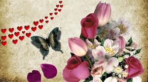 Artistic Butterfly Flower Heart 1920x1080 Wallpaper