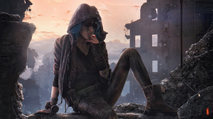 Girl Post Apocalyptic Smoking 3840x2160 Wallpaper