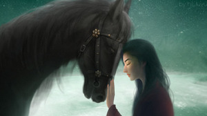Mulan WuXia Fantasy Girl Horse Starry Night Source Lake Asia Crystal Ancient Sad 1920x810 Wallpaper