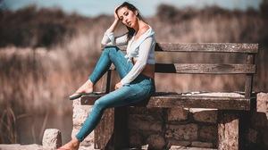 Patrik Valasek Model Brunette Jeans Women Short Tops Flip Flops Clouds Bench Sitting Women Outdoors  2048x1365 Wallpaper
