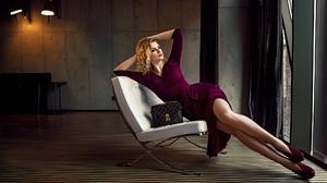Women Model Women Indoors Indoors Legs Dress Looking Away Arms Up Makeup Blonde Legs Together Handba 2048x1152 Wallpaper