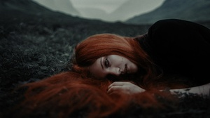 Woman Girl Lying Down Red Hair 2000x1185 wallpaper