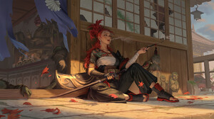 Hou China Digital Art Artwork Digital Painting Women Sword Pipe Painted Nails Redhead Tattoo Leaves  2000x1122 Wallpaper