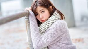 Woman Model Girl Depth Of Field Scarf Brunette 2048x1365 Wallpaper
