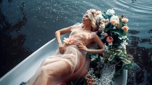 Andrey Metelkov Women Flower In Hair Blonde Looking Away Dress Flowers Boat Water 1920x1282 wallpaper