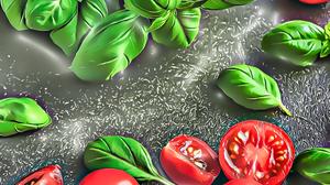 Still Life Painting Artwork Digital Art Illustration Food Plants Leaves Herb Tomatoes Basil 4096x5675 wallpaper