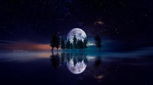 Moon Reflection Tree 1920x1080 Wallpaper