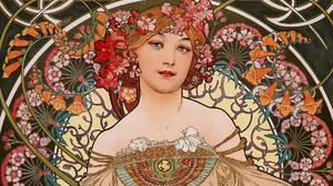 Alphonse Mucha Illustration Art Nouveau Traditional Art Floral Women Face Bare Shoulders Artwork 1920x1080 wallpaper