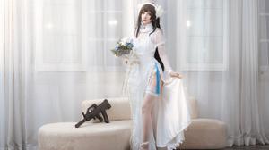 Cosplay Asian High Heels Wedding Attire Wedding Dress Gun Rifles 4240x2832 Wallpaper