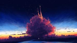 Digital Painting Sky Rocket Clouds River Landscape BisBiswas 1920x1080 Wallpaper