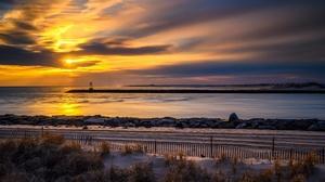 Horizon Nature Ocean Sky Sunset 2565x1707 Wallpaper