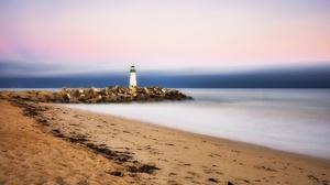 Outdoors Coast Beach Sky Lighthouse 2048x1152 Wallpaper