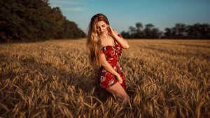Women Blonde Red Dress Women Outdoors Smiling Long Hair Hairband Bare Shoulders 2000x1125 Wallpaper