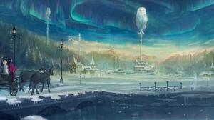 Aurora Borealis Fantasy Girl Horse Owl Shooting Star Starry Sky Village 3320x1080 Wallpaper