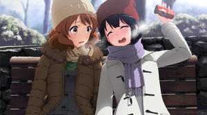 Hibike Euphonium Anime Girls Outdoors Bench Sitting Winter Cold Anime Brunette Dark Hair Two Women Y 1920x1200 wallpaper