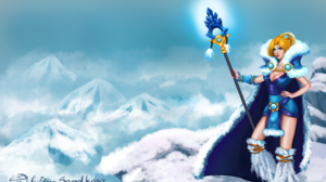 Blonde Blue Eyes Cape Crystal Maiden Dota 2 Dota 2 Fur Girl Snow Staff Winter Woman 3057x1912 Wallpaper