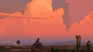 Reimer Road Motorcycle Clouds Desert Sunset Cactus Dust Artwork 1401x900 Wallpaper
