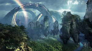 Avatar Cloud Floating Island Forest Nature Rain Rainbow River Tree 1920x1080 Wallpaper