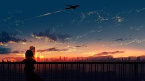 Anime Anime Girls HuashiJW Clouds Fence Airplane Cityscape 2847x1641 Wallpaper