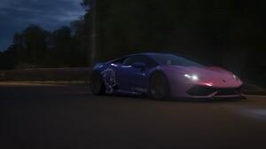 Forza Horizon Forza Lamborghini Car Dark Night Road Midnight Japanese Cars Forza Horizon 4 Drive Mov 1920x1080 Wallpaper