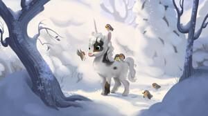 Digital Art Unicorn Fantasy Art Snow Birds Forest Simone Fohl 1920x1150 Wallpaper
