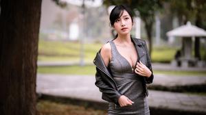 Asian Model Women Depth Of Field Long Hair Dark Hair Leather Jackets Ponytail Trees Grass 4562x3043 Wallpaper