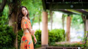 Asian Brunette Depth Of Field Girl Long Hair Model Woman 4562x3043 Wallpaper
