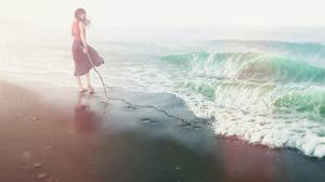 Beach Girl Sand Sunshine Wave 1920x1358 Wallpaper
