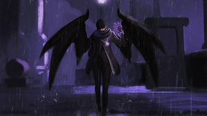Demon Man Rain Wings 3840x2160 wallpaper