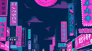 Illustration Colorful Purple Pink Artist Neon Glowing Cityscape Architecture Building Dark City Silh 2000x2589 Wallpaper
