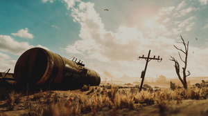 Metro Exodus PC Gaming Video Games Apocalyptic Numbers Sky Wreck Train 4949x2610 Wallpaper
