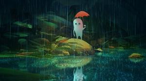 Creature Rain Reflection Umbrella Water 1920x1440 Wallpaper