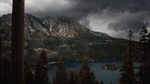 Landscape Mountains Snowy Mountain Pine Trees Forest Nature Lake Clouds Overcast 2048x1364 wallpaper