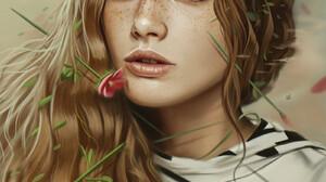 Ya Ar VURDEM ArtStation Portrait Display Digital Art Brunette Painted Freckles Looking At Viewer Art 1600x2400 Wallpaper