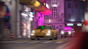 Car Porsche City Racing Night CGi Digital Art Render Rendering Police Cars Car Chase 1920x1080 wallpaper