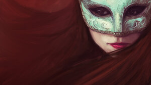 Digital Art Women Mask Long Hair Face Lipstick 1920x1704 Wallpaper