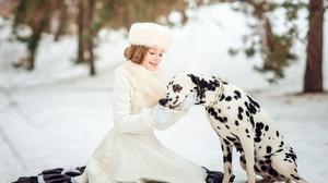 Winter Dog Girl Dalmatian Coat Woman Hat 2000x1403 Wallpaper
