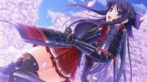 Purple Hair Blue Eyes Samurai Armor Blossoms Cherry Blossom Red Skirt Anime Girls Artwork Komori Kei 3840x2160 wallpaper