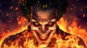Artwork Digital Art Joker Fictional Character Face Smiling Fire Cropped 2000x1122 Wallpaper
