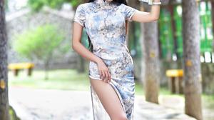 Asian Model Women Long Hair Dark Hair Depth Of Field Trees Traditional Clothing Hand Fan Bracelets H 2560x3840 wallpaper