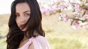 Ana De Armas Actress Brunette Green Eyes Looking At Viewer Women Flowers Pink Dress Women Outdoors 2550x1848 Wallpaper