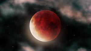 Blood Moon Space Stars 7680x4320 wallpaper