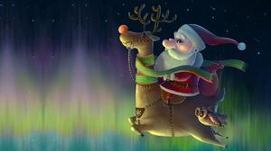 Aurora Borealis Christmas Reindeer Santa Santa Hat 2716x1613 Wallpaper