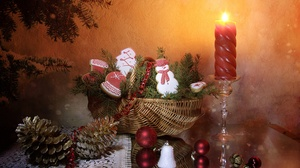 Basket Bauble Christmas Ornaments Pine Cone Still Life Cookie Candle 3840x2400 Wallpaper