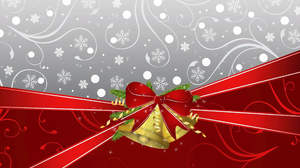 Bell Christmas Decoration Gift Gold Holiday Red Ribbon 2560x1600 Wallpaper