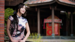 Model Depth Of Field Kimono Black Hair Long Hair 4500x3002 Wallpaper